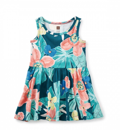 Tea Collection Coral Fern Tank Baby Dress (3-6m, 6-9m)