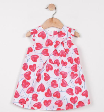 Catimini Hearts Print Percale Dress