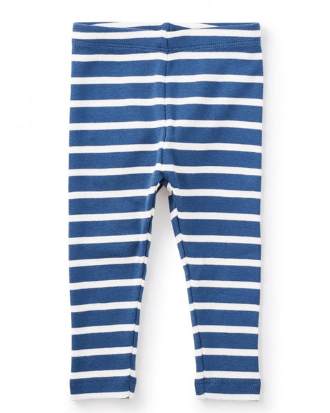 Tea Collection: Striped Rib Baby Leggings in Nautilus (3-6m)