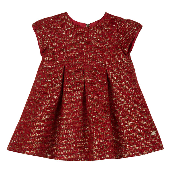 Tartine et Chocolat Red & Gold Tweed Baby Dress