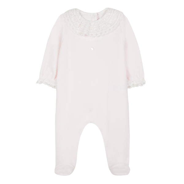 Tartine et Chocolat Baby Girls Pink Velour Playsuit