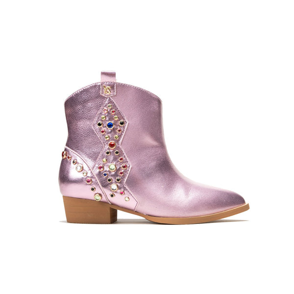 Miss Dallas Multi Gem Studded Boots - Light Pink Metallic