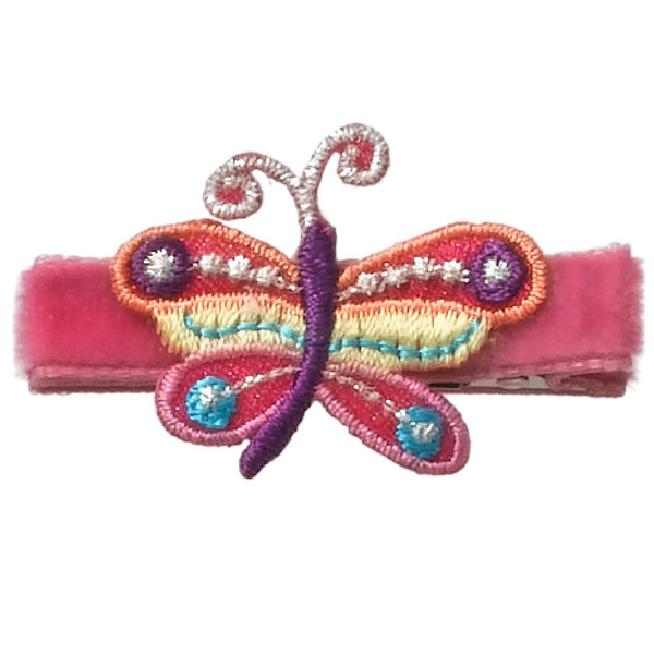 No Slippy Hair Clippy -  Jayla Shocking Pink Butterfly Hair Clip
