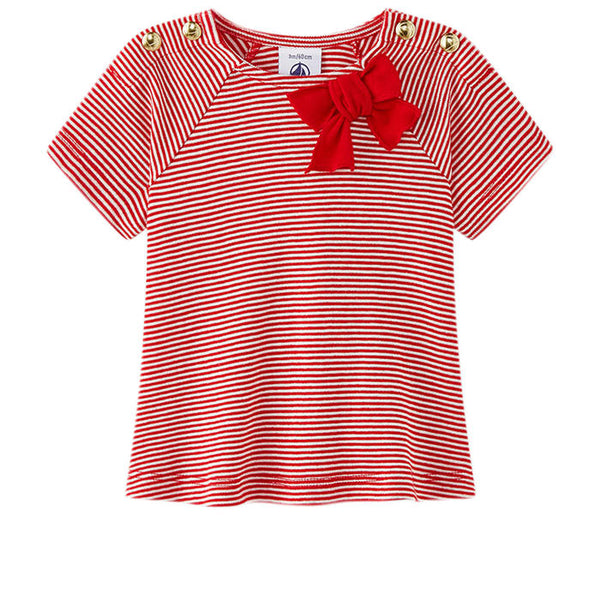 Petit Bateau BABY GIRL STRIPED SHORT SLEEVE TEE WITH BOW