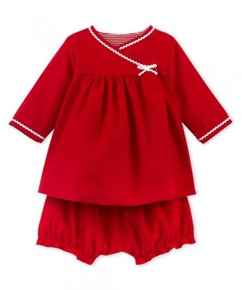 Petit Bateau Long Sleeve Baby Dress with Bloomers (6m, 12m, 18m)