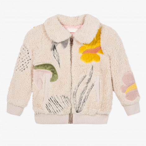 Catimini Girl's Faux Fur Bomber Jacket with Velvet and Embroidered Motifs