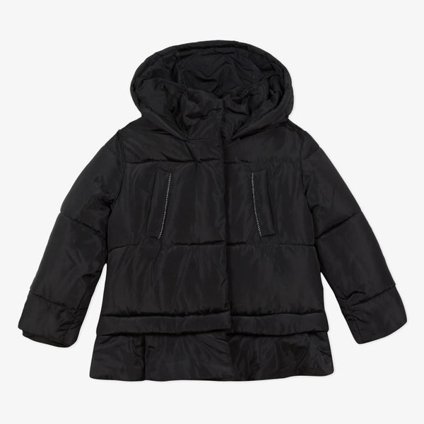 Catimini Girl's Black Satin-finish Coated Bomber Jacket (4Y, 6Y, 8Y)