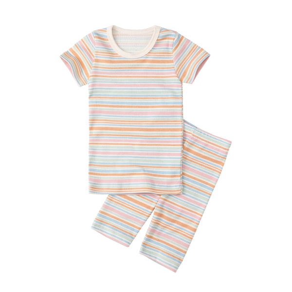 Organic Slim Pajama Shorts Set - Frog Stripe