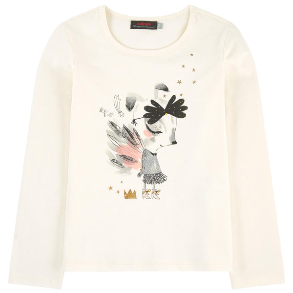 Catimini: Fairy Tale Deer Graphic Long Sleeve T-shirt - Size 7