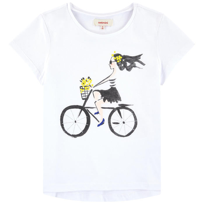 Catimini Girl's T-shirt with Bicycle Print