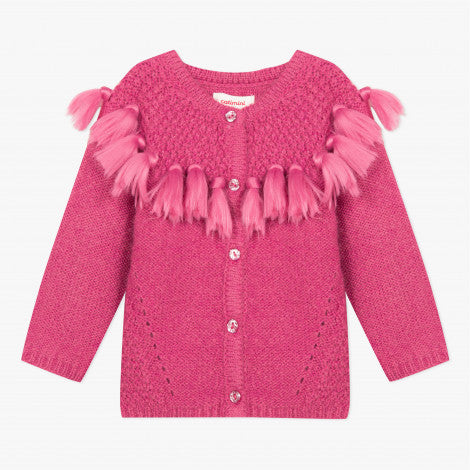 Catimini Little Girl Raspberry Soft Cardigan with Pompoms (Size 6m, 12m, 2A, 3A)