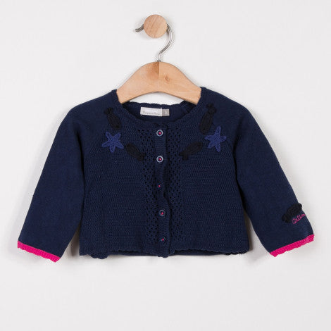 Catimini Girls Indigo Knitted Cardigan