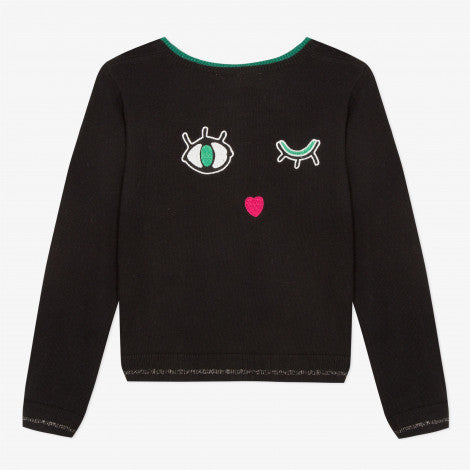 Catimini Girl's Black Embroidered Cardigan with Cat