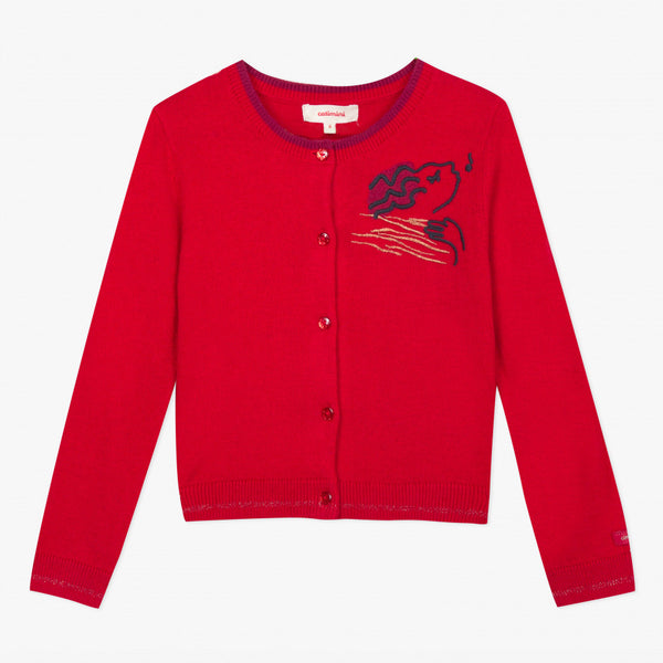 Catimini Girl's Red Knitted Cardigan with Velvet Embroidery
