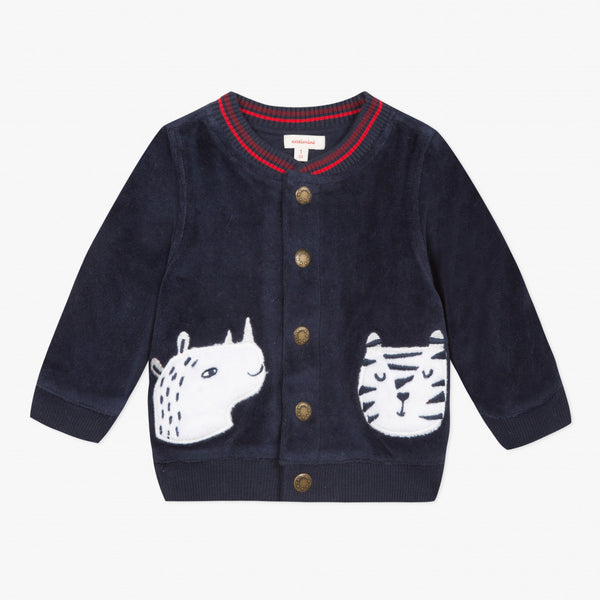 Catimini Baby Boy Velvet Cardigan with Embroidered Animals