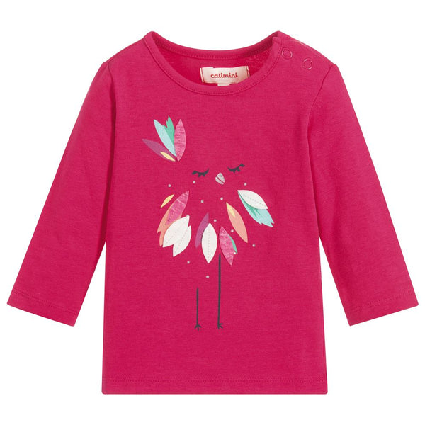 Catimini: Girls Bird Graphic Pink Jersey Top