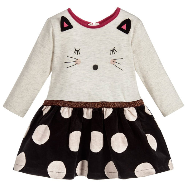 Catimini Two material dress with maxi polka dots