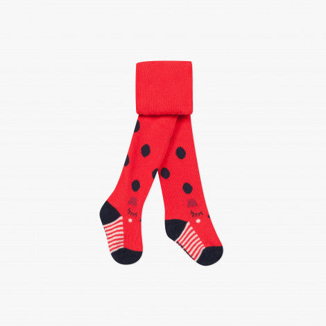 Catimini Little Girl Red Polka Dot Tights