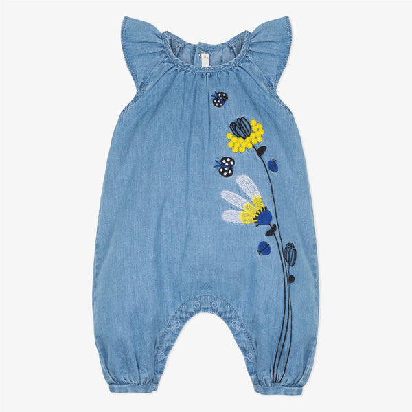 Catimini Baby Girl Light Denim Playsuit with Embroidered Mimosas (3m, 6m, 12m, 18m, 3Y, 4Y)