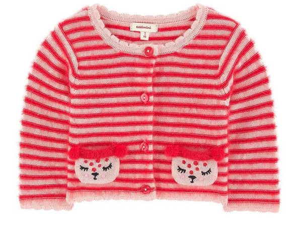 Catimini Baby Girl Red Striped Cardigan