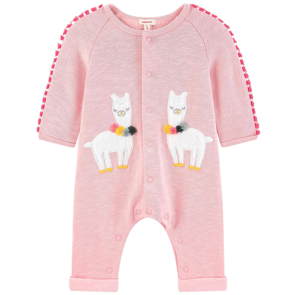 Catimini Baby Girl Fleece Jumpsuit with Velvet Llama Patches