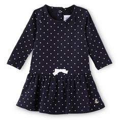 Petit Bateau Baby Long Sleeve Dress in Polka Dots