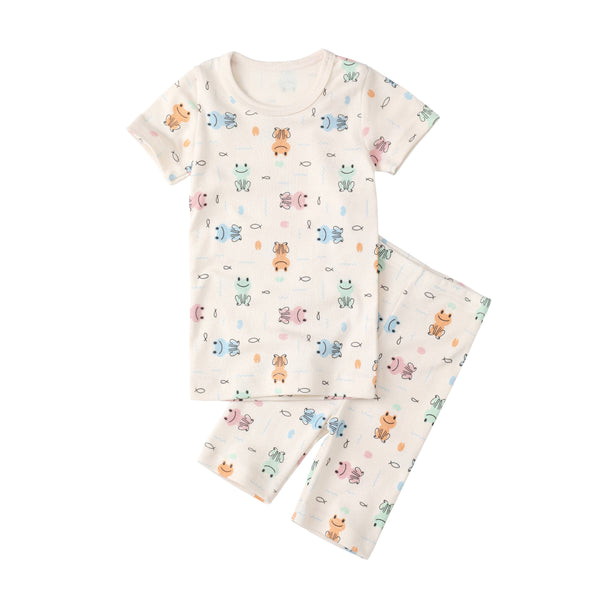 Organic Slim Pajama Shorts Set - Frog