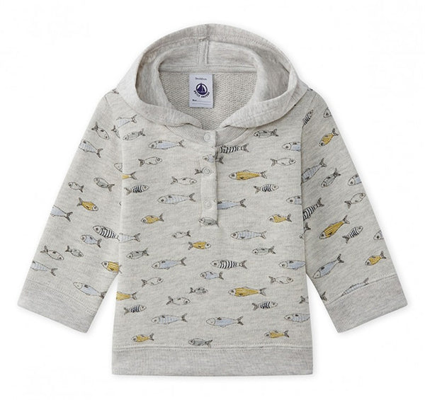 Petit Bateau Boy Hooded Sweat Shirt in Fish Print