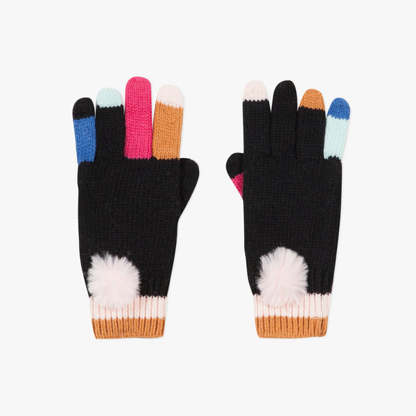 Catimini Girl's Black Knitted Gloves with Color Fingers