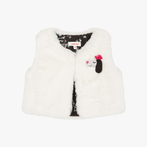 Catimini Little Girl Snow white Faux Fur Vest (Size 6m, 12m, 18m, 2A)