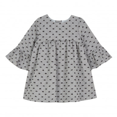 Tartine et Chocolat Little Girl's Grey Marl Dress with Bows