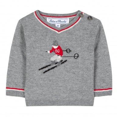 Tartine et Chocolat Baby Boy Grey Marl Skier Sweater