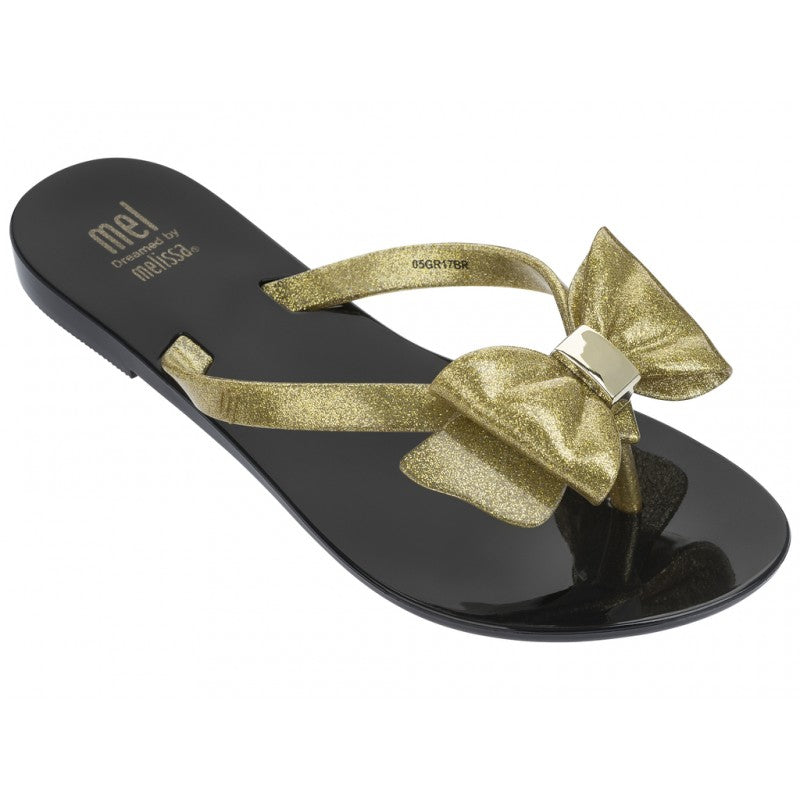 Mini Melissa: Mel Harmonic III in Black/Gold Sandal