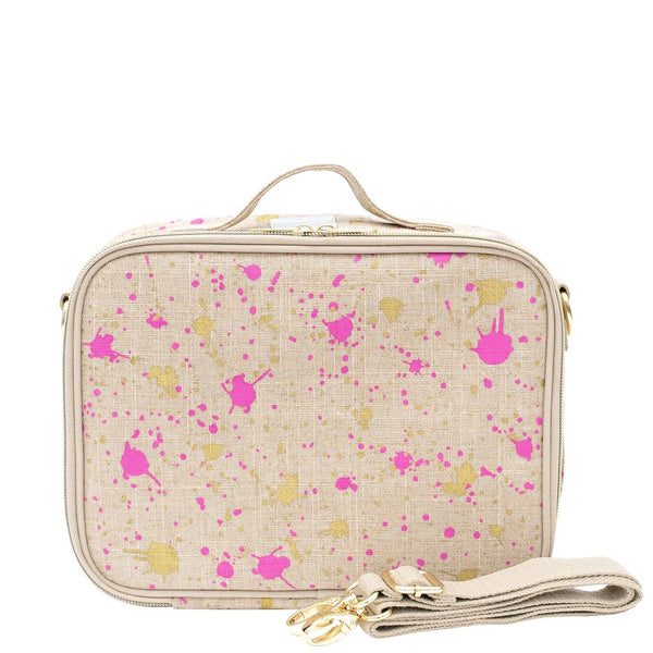 SoYoung Linen Lunch Box - Fuchsia and Gold Splatter