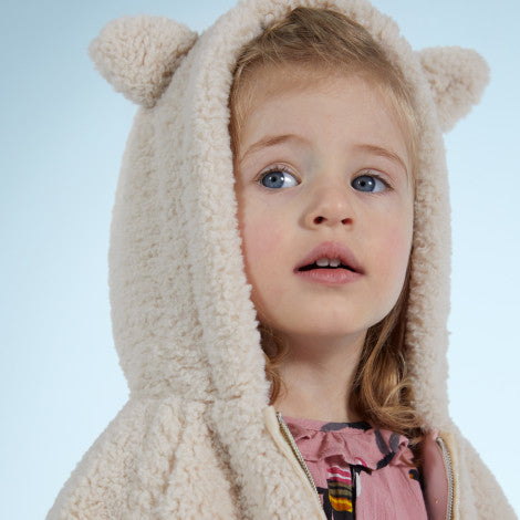 Catimini Little Girl Hooded Faux Fur Jacket with Ears