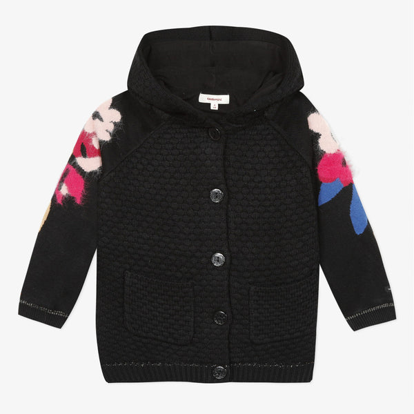 Catimini Girl's Fleece Lined Coat with Floral Jacquard Pattern