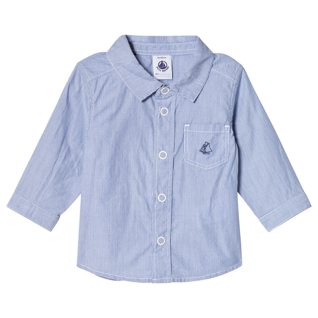 Petit Bateau Baby Boy Blue Button Up Collared Shirt