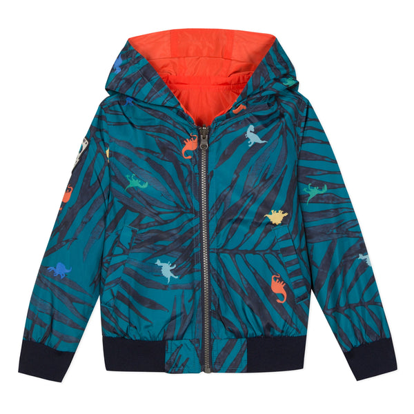 Catimini Hooded Reversible Jacket in Dinosaur Print