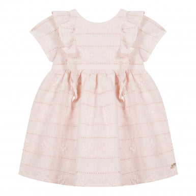 Pink Dress with Clover Broderie Anglaise by Tartine et Chocolat