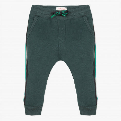 Catimini Little Boy Striped Green Fleece Joggers