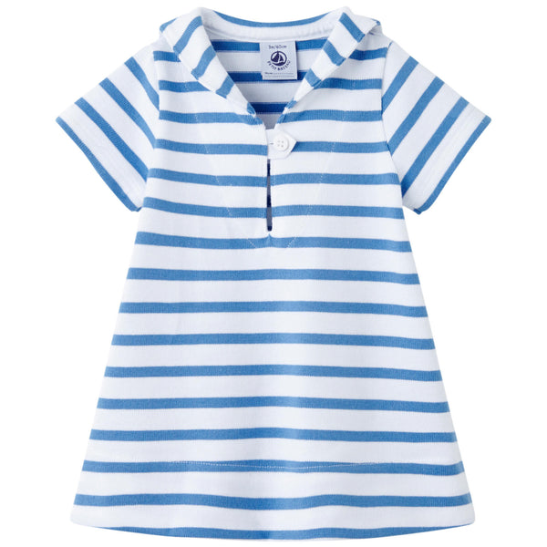 Petit Bateau Baby Girl Striped Dress with Sailor Collar (3m)