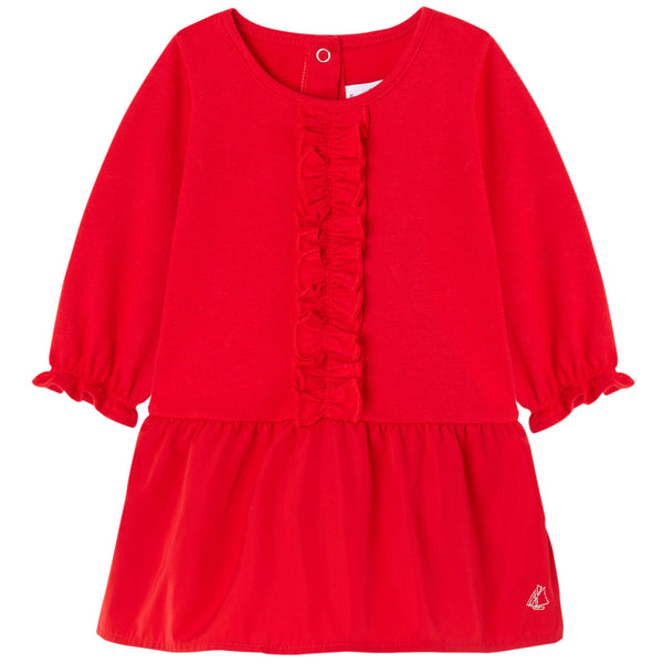 Petit Bateau Long Sleeves Dress with Taffeta Skirt (3m,6m,18m)