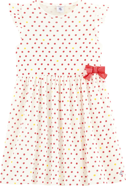 Petit Bateau Girls' Dots Print Dress with Bow