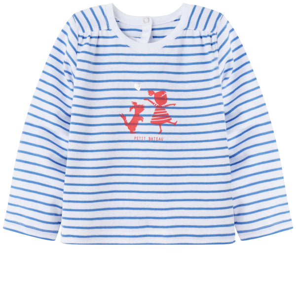 Petit Bateau Baby Girl Striped Shirt with Graphic
