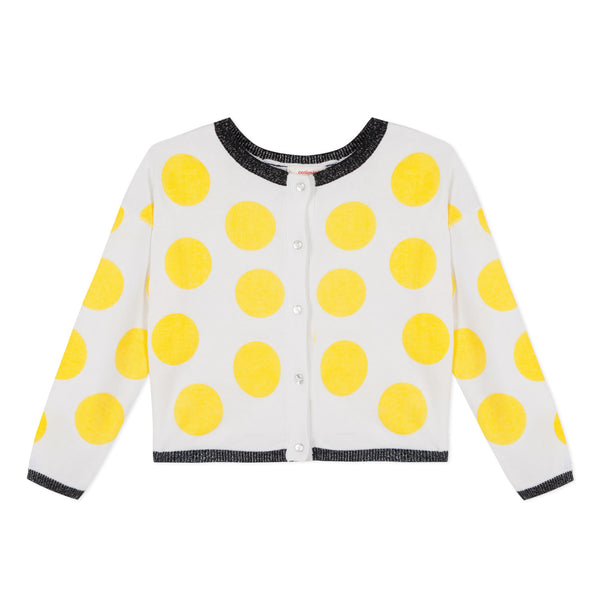 Catimini Polka Dot Double-sided Jacquard Cardigan