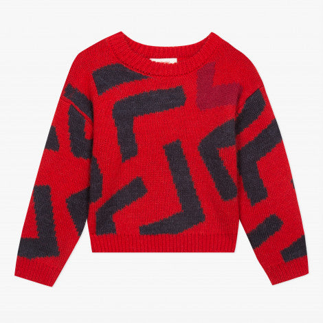 Catimini Girl's Abstract Knitted Sweater (Size 8, 12)
