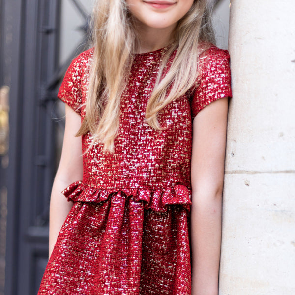 Tartine et Chocolat Red Lurex Jacquard Dress