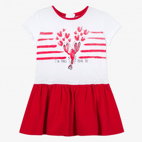 Catimini Baby Girl Dress in Two Materials Jersey with Motifs and Pique Knit