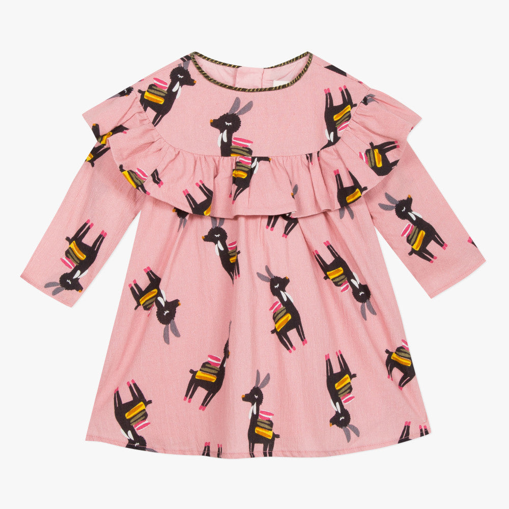 Catimini Little Girl Llama Printed Dress