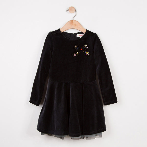 Catimini Velvet Dress with Jeweled Bow